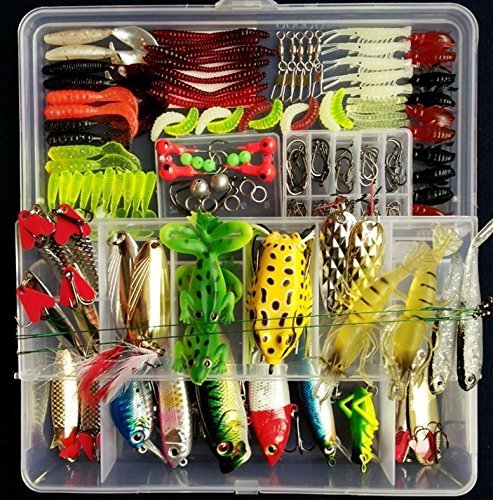 PortableFun Fishing Tackle Lots, Fishing Baits Kit Set.