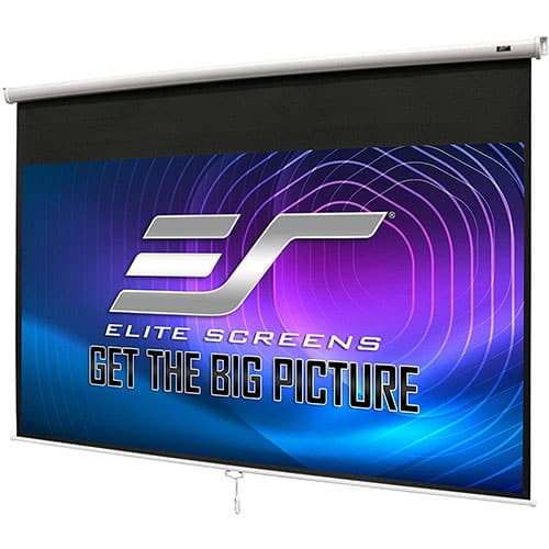 Elite Screens Manual B, 100-inch 16:9, Manual Pull Down Projector Screen 4k /8k Ultra HDR 3D Ready with Slow Retract Mechanism