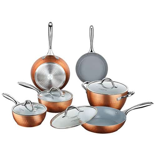 Cooksmark Diamond Texture Non-Stick Induction 10-Piece Cookware Set