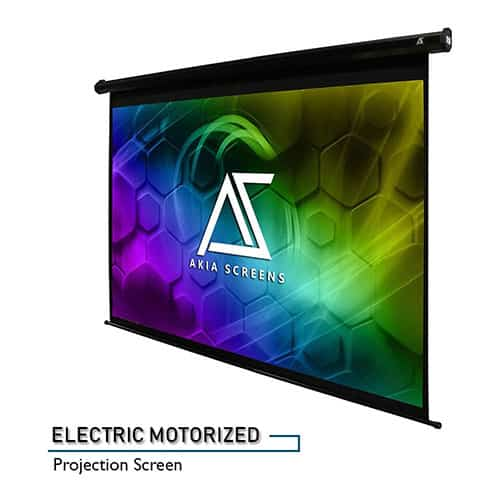 Akia Screens AK-MOTORIZE104V1 104-inch Motorized Electric Projector Screen 4:3 Ultra HD 3D Ready 8k 4k Trigger Remote Control Wall/Ceiling Mounted 12V