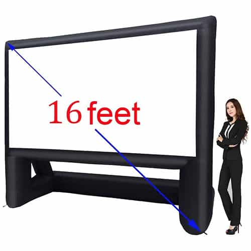 16' Inflatable Outdoor Projector Movie Screen – Package with Rope, Blower + Tent Stakes
