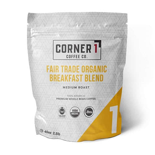 Corner One Coffee Fair Trade Organic Breakfast Blend Whole Bean Coffee