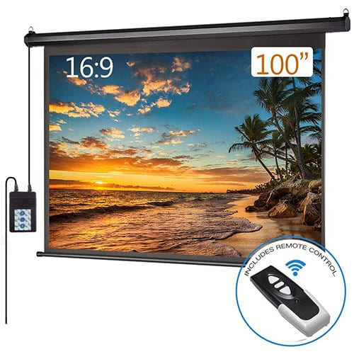 Motorized Electric Projector Screen 100 inch 16:9 HD Diagonal Indoor and Outdoor Electric Move Screen with Remote Control for Family Home Office Theater, Black