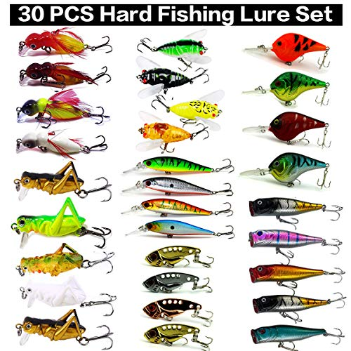XBLACK Hard Fishing Lure Set Assorted Bass Soft Fishing Lure Kit Colorful