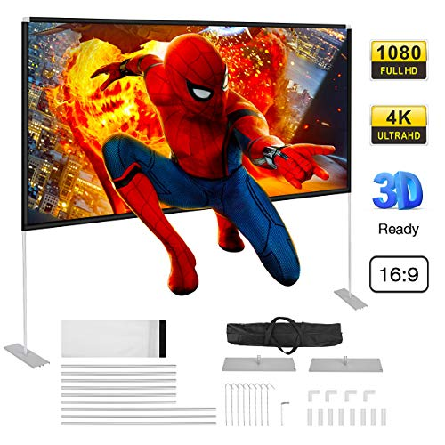 Powerextra Projector Screen with Stand, 100 inch 16:9 HD 4K