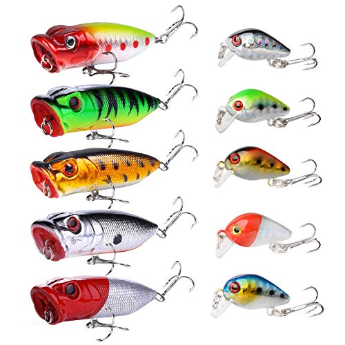 10PCS Topwater Fishing Lures Bass,SundayPro Poppers Fishing Lure Baits